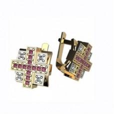 Серьги из комбинированного золота с бриллиантами и рубинами..