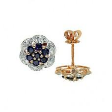 Серьги из комбинированного золота с бриллиантами и сапфирами