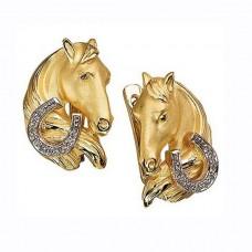 Серьги из комбинированного золота с бриллиантами..