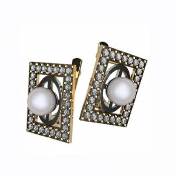 Серьги из комбинированного золота с жемчугом и бриллиантами