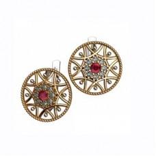 Серьги из комбинированного золота с рубинами и бриллиантами
