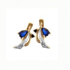 Серьги из комбинированного золота с сапфирами и бриллиантами..