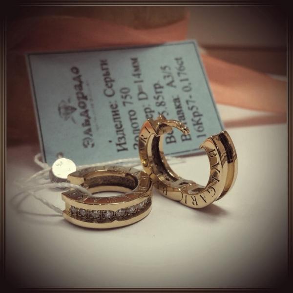 Серьги из розового золота с бриллиантами