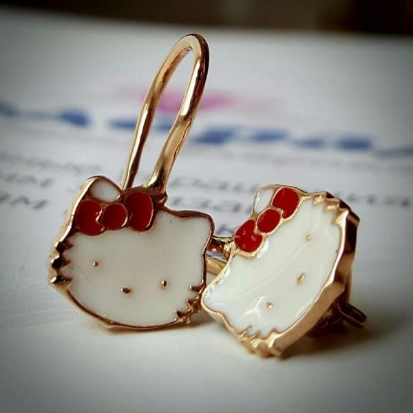 """Серьги """"Kitty"""" из красного золота с эмалью"""